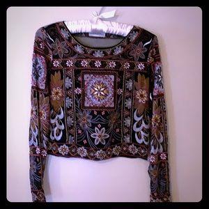 Zara embroidered mesh crop top, size S